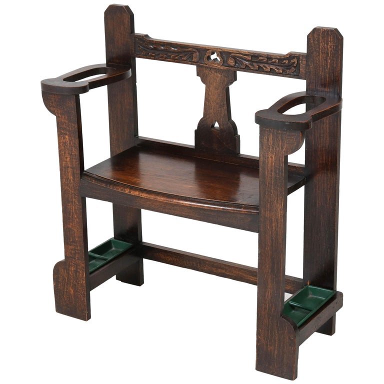 Oak English Arts & Grafts Small Hall Bench with Integrated Umbrella Stand, 1900s