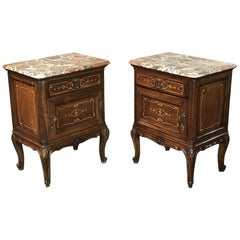 Pair of Inlaid Walnut Italian Piedmontese Breccia Marble Top Nightstands