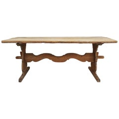 Late 18th Century Swedish Pine Trestle Dining Table with Shaped Rail