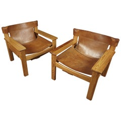 Midcentury Pair of Spanish Style Chairs from Sweden, circa 1970