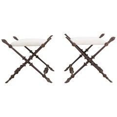 Antique Pair of Very Large Iconic Napoleon III Cast Iron Stools