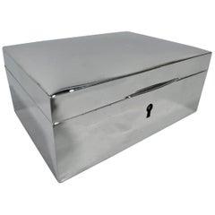 American Art Deco Modern Sterling Silver Jewelry Box by New York Maker