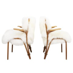 Pair of Mid Century Steiner Chairs with Icelandic Sheepskin Upholstery
