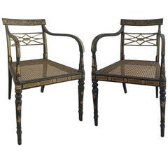 Pair of Regency Ebonized and Gilded Armchairs, circa 1810