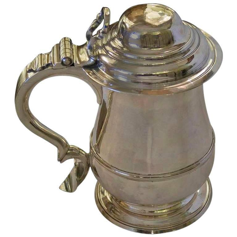 Antique English Sterling Silver Lidded Tankard by Humphrey Payne London, 1749