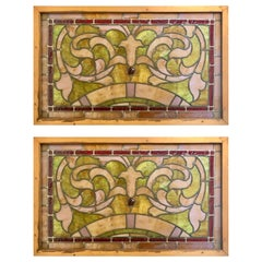 Pair of Antique Stained Glass Windows