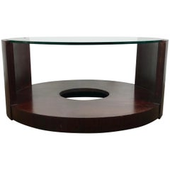 Modernist Mahogany and Glass Cocktail Table Designed by Gilbert Rhode