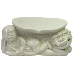 Ding Kiln Porcelain Pillow, Song Dynasty Style, Man and Foo Dog
