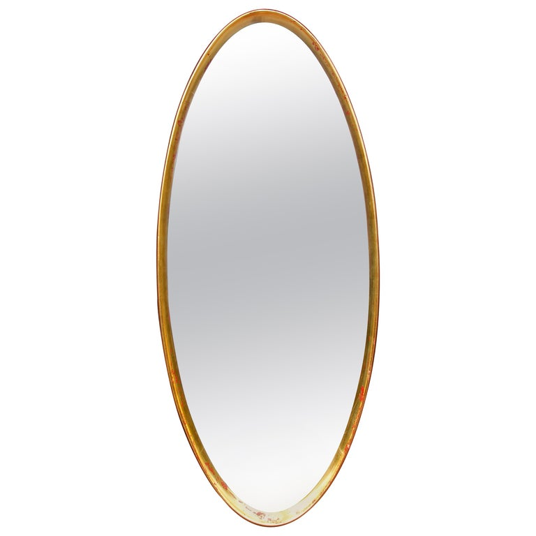 Mid-Century Modern Giltwood Oval Mirror by La Barge