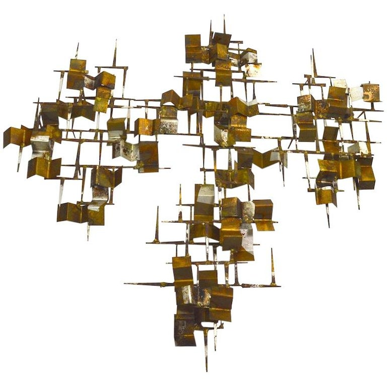 Brutalist Nail and Mixed Metal Wall Mount Sculpture Attributed to Marc Weinstein For Sale