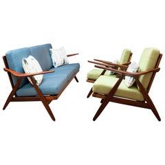 Rare Restored Danish Teak Sofa and Pair of Lounge Chairs by Arne Hovmand-Olsen