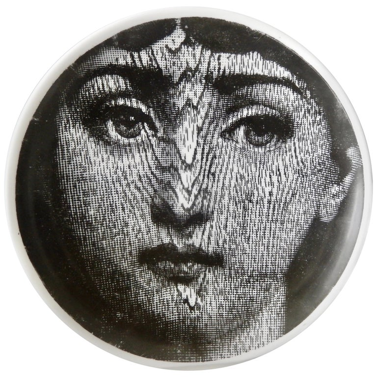 Midcentury Fornasetti Face Plate, Tema e Variazione N90 For Sale
