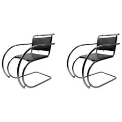Pair of Mies van der Rohe MR Lounge Chairs Black Leather and Chrome