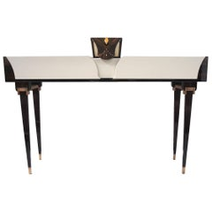 Contemporary Amber Console in Macassar Wood and Amber Handle by Eva Baron