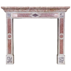Italian Neoclassic Rosso Verona Marble Fireplace Mantle
