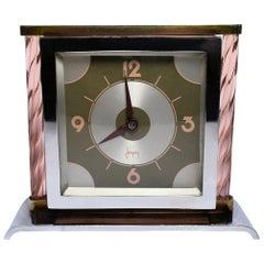 Modernist French Glass and Chrome Art Deco Clock