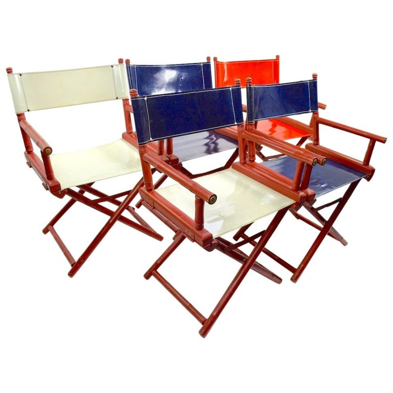 Five Folding Campaign Chairs by Telescope For Sale