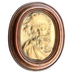 17th Century Carved Marble Relief Italian Cameo Portrait, Gian Lorenzo Bernini