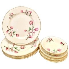 "1950s Porcelain ""Pink Magnolia"" Dinnerware S/12 by Homer Laughlin"