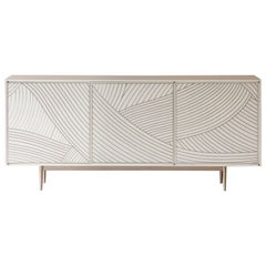 Bethan Gray Dhow Three-Door Cabinet White or Nickel