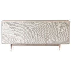 Bethan Gray Dhow Three Door Cabinet in White and Nickel