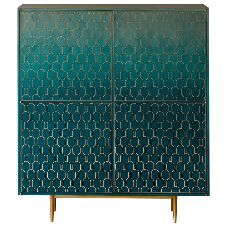 Bethan Gray Nizwa Four-Door Tall Cabinet Teal / Brass For Sale
