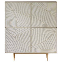 Bethan Gray Dhow Four-Door Tall Cabinet White and Brass
