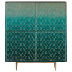 Bethan Gray Nizwa Four-Door Tall Cabinet Jade and Brass
