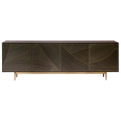 Bethan Gray Dhow Four-Door Cabinet Charcoal / Brass