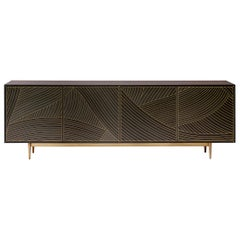 Bethan Gray Dhow Four Door Cabinet in Charcoal and Brass