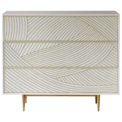 Bethan Gray Dhow Chest of Drawers in White and Brass