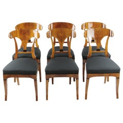 Set of Six Biedermeier Period Cherry Tree Chairs, Early 19th Century