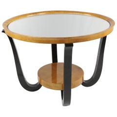 French Art Deco Side Table, circa 1930, Maple Wood with Mirror Tabletop