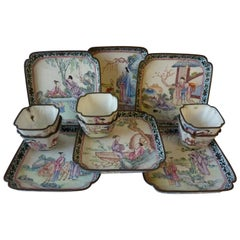 Six Canton Enamel Cup and Saucers