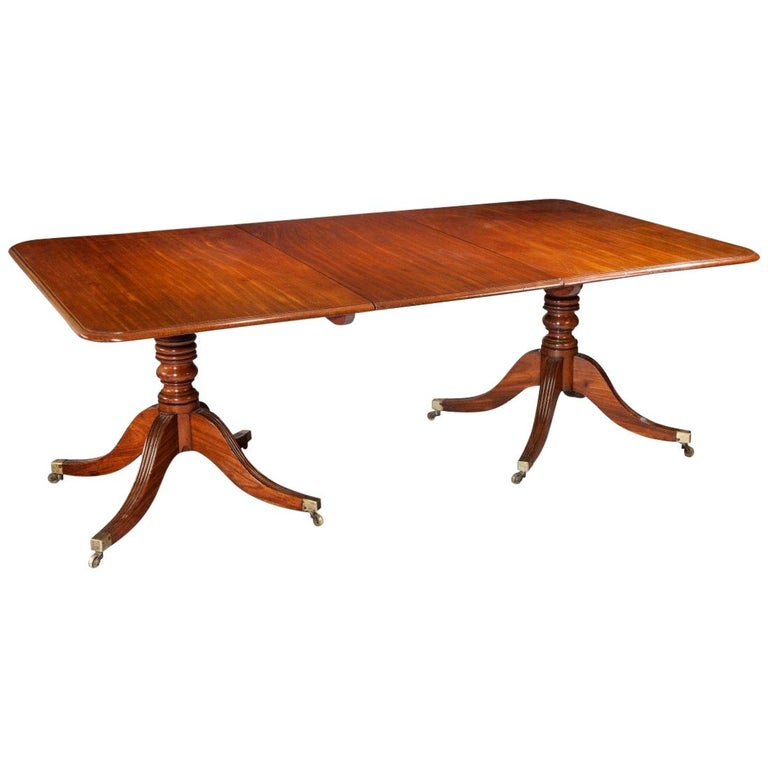 Georgian Or Regency Twin Pillar Antique Dining Table For Sale At 1stdibs