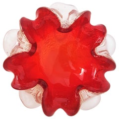 Vibrant Deep Red Silver Flecks Murano Art Glass Flower Bowl, Italy, 1960s