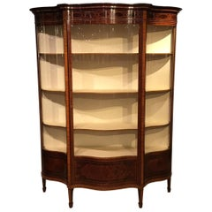 Fine Quality Mahogany Inlaid Edwardian Period Serpentine Display Cabinet