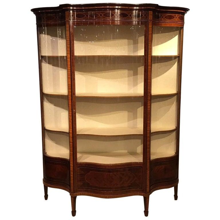 Fine Quality Mahogany Inlaid Edwardian Period Serpentine Display Cabinet
