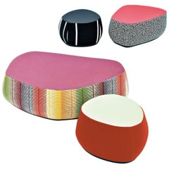 Fjord Stools Small, Medium or Large in Fabric or Leather Body and Leather Top