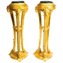 Antique Pair of Giltwood Pedestals Torcheres Early 20th Century