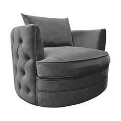 French Design Velvet and Swivel Armchair