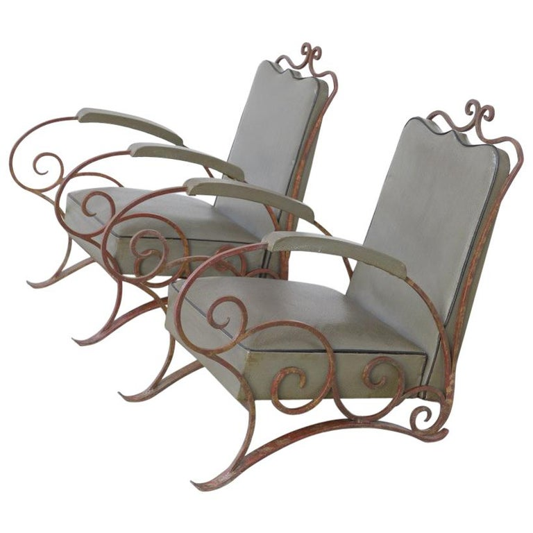 Elegant Pair of Wrought Iron Easy Chairs in the Manner of René Drouet