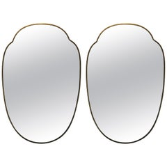 Pair of 1950s Brass Shield Shaped Mirrors, Italy