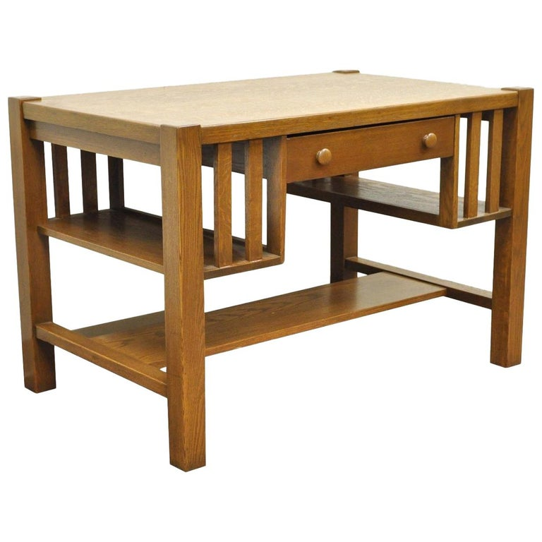 Antique Mission Arts Crafts Oak Writing Library Desk Table Bookcase Sides