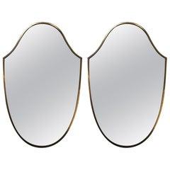 Pair of Brass Italian 1950s Mirrors