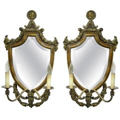 Spanish Renaissance Style Brass Wood Mirror Shield Cameo Electric Sconces, Pair