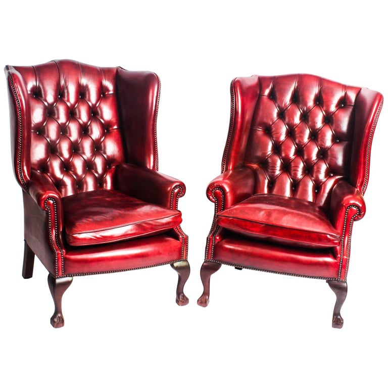 Pair of Leather Chippendale Wing Back Armchairs Ruby Red