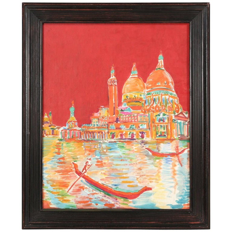 Acrylic Painting Attributed to French Artist Roland David For Sale