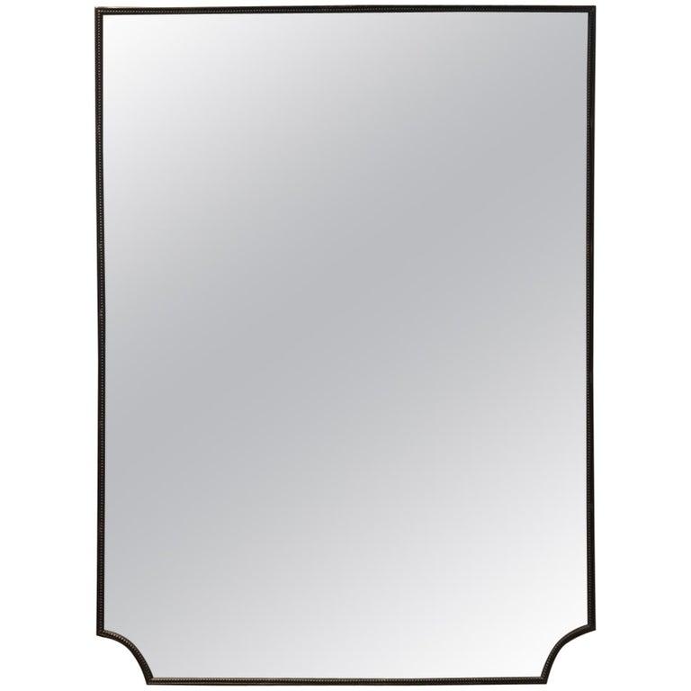 1950s Dark Brass Shield Shaped Mirror