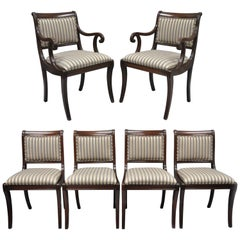 Mahogany Saber Leg Regency Style Upholstered Dining Room Chairs Set of Six